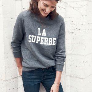 Madewell X Sezane La Superbe Crew Sweatshirt Gray